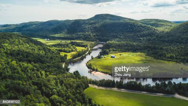 mountain and river - quebec stock pictures, royalty-free photos & images