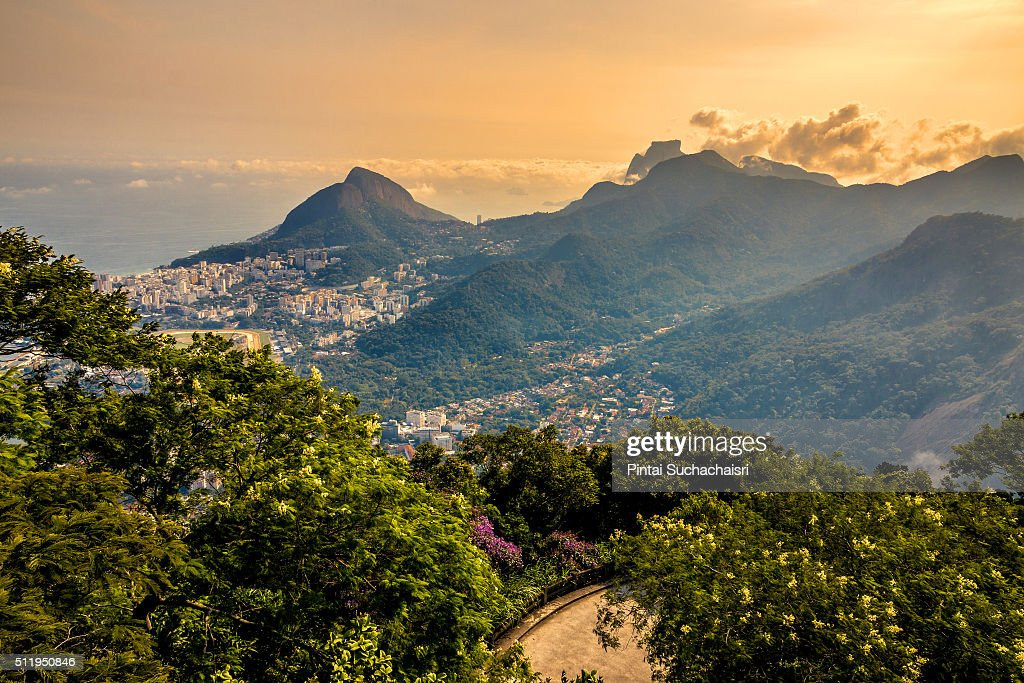 Mountain and Sea View from Corcovado : Stock Photo