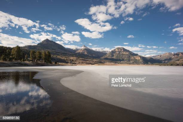 mountain and snow line - mirror lake stock pictures, royalty-free photos & images