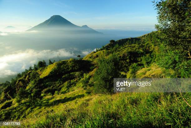 Mountain and volcano landscape in Indonesia at sunrise