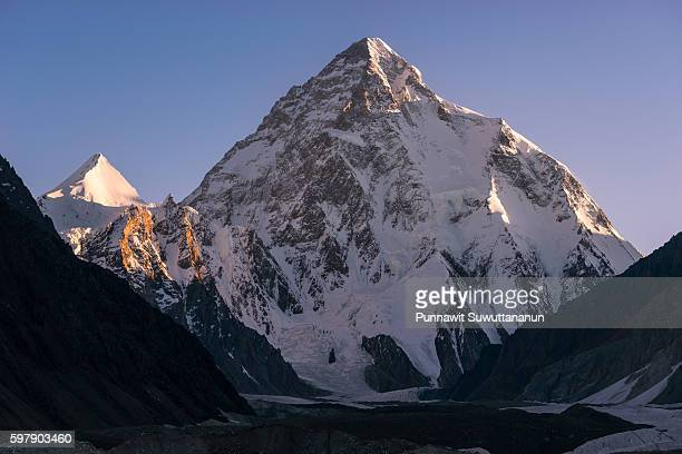 K2 mountain at sunrise from Concordia camp