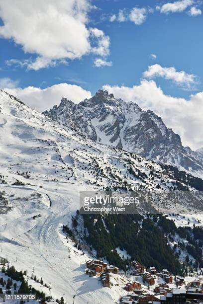 mountain beauty in meribel - courchevel stock pictures, royalty-free photos & images