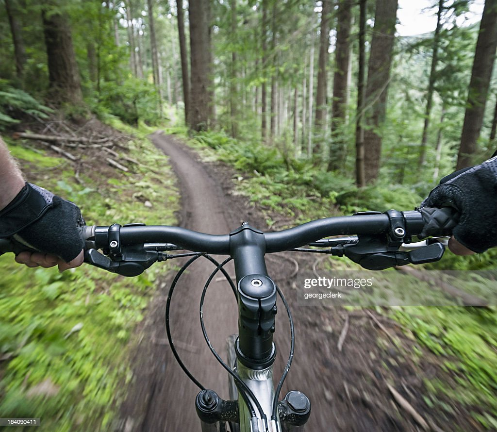 Mountain Bike Action Personal Perspective : Stock Photo