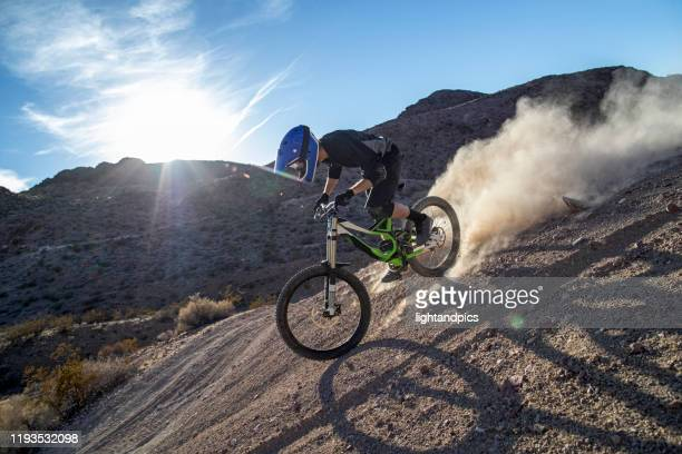 mountain bike downhill - nevada stock pictures, royalty-free photos & images
