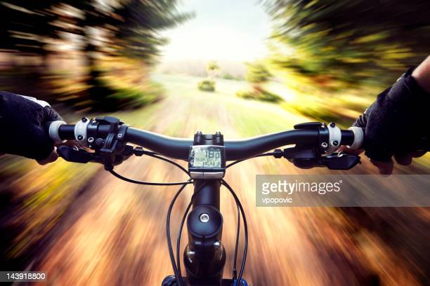 mountain bike forest adventure - handlebar stock pictures, royalty-free photos & images