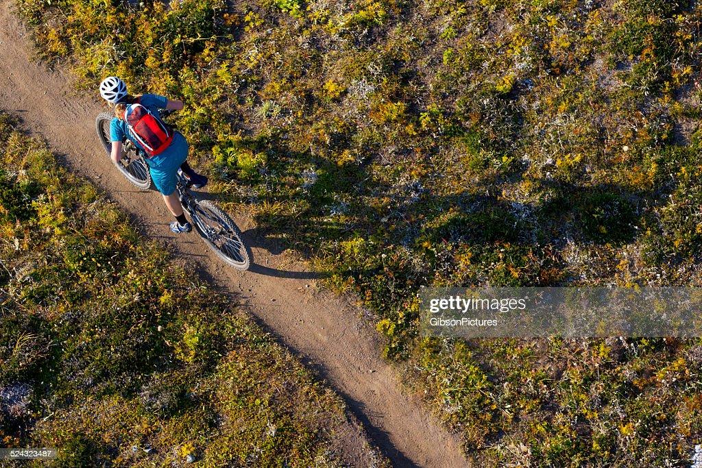 Garota de Mountain Bike : Foto de stock