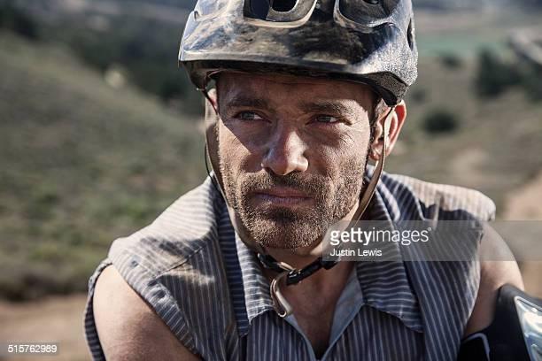 Mountain Bike Man, Closeup, Gritty Tech Gear