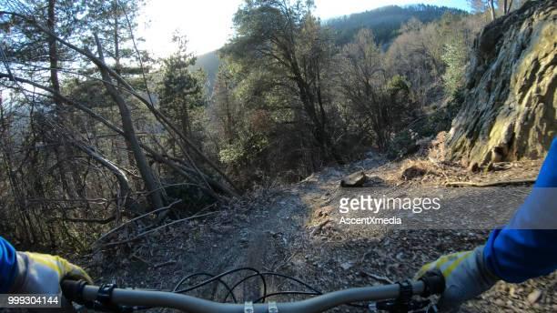 pov of mountain bike on trail in forest - liguria foto e immagini stock