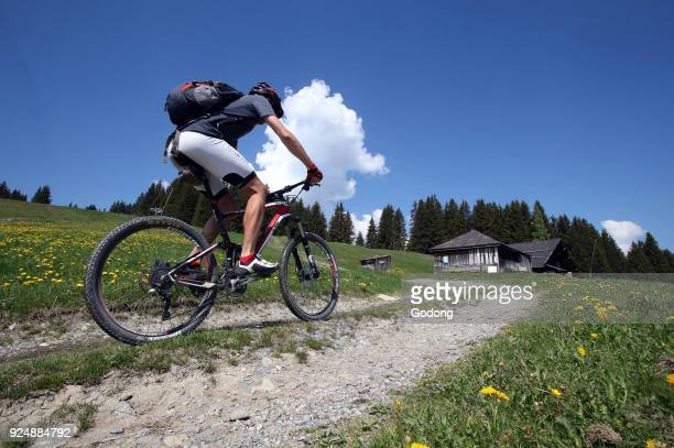 Mountain bike race in the french Alps France