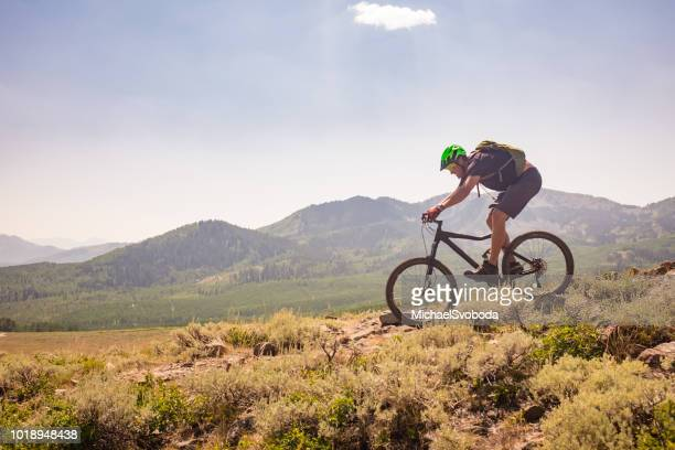 mountain bike ride - park city utah stock pictures, royalty-free photos & images