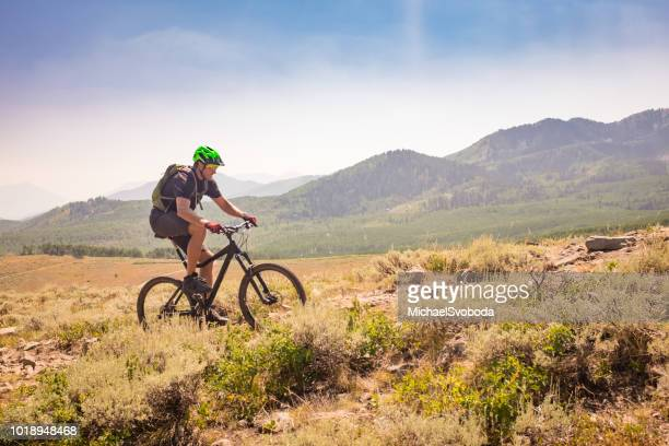 mountain bike ride - park city stock pictures, royalty-free photos & images