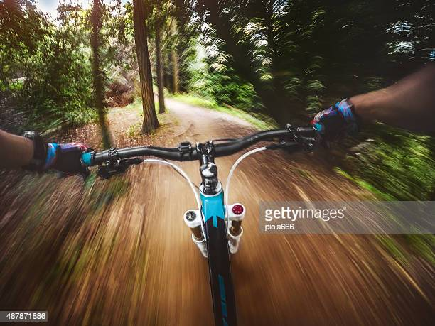 Mountain Bike: riding a fast single trail in the forest