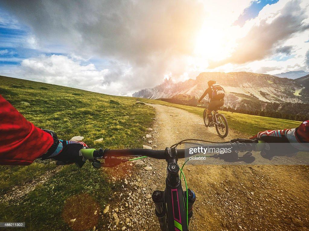 Mountain Bike: Single Trail in two : Stock Photo