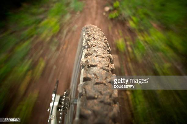 mountain bike tire perspective - mountain bike stock pictures, royalty-free photos & images