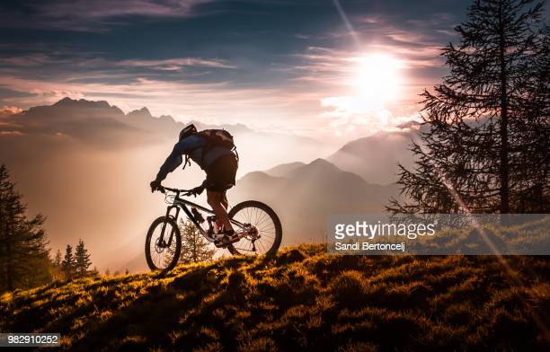 a mountain biker bikini at sunset - riding stock pictures, royalty-free photos & images