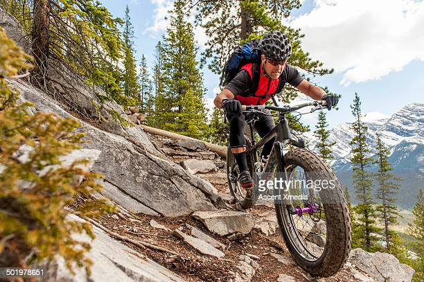 mountain biker descends steep rocky trail, mtns - mountain biking stock pictures, royalty-free photos & images