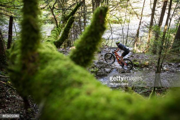 Mountain Biker Francois BaillyMaitre from team 'Athletes 20' competes during the Redbull Elements on September 23 2017 in Talloires France