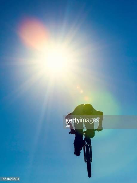 Mountain biker in mid air
