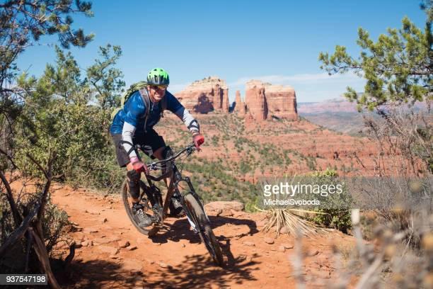mountain biker in sedona az - sedona stock photos and pictures