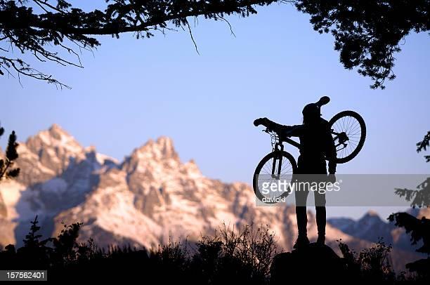 Mountain biker  in the Grand Tetons