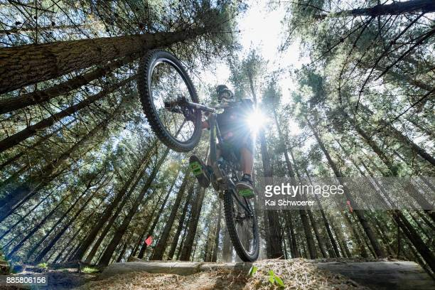 A mountain biker jumping at Christchurch Adventure Park on December 5 2017 in Christchurch New Zealand The park was closed 10 months ago following...
