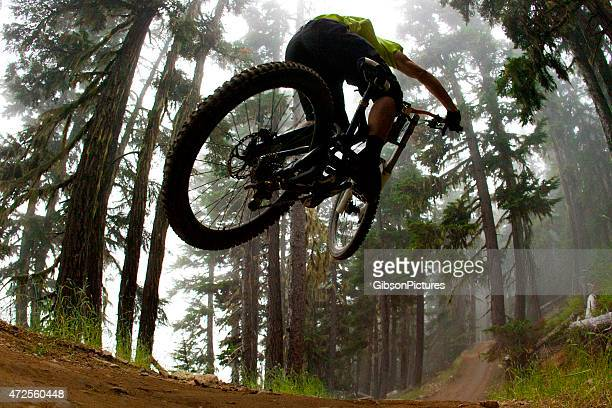 Mountain biker jumping on a trail