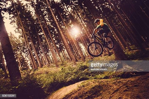 Mountain Biker Jumps In Forest