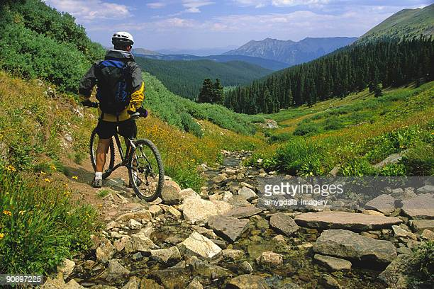 mountain biker landscape mountains