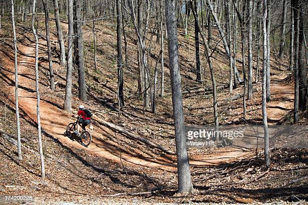 mountain biker on arkansas trail - ファイアットヴィル ストックフォトと画像