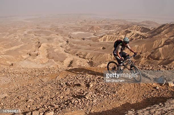 Mountain biker on singletrack in desert
