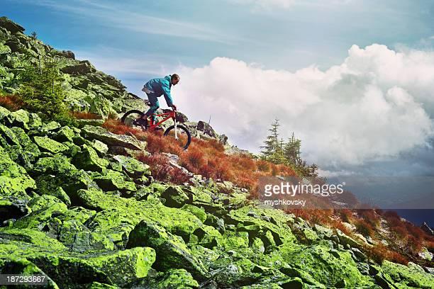Mountain biker on the peak.
