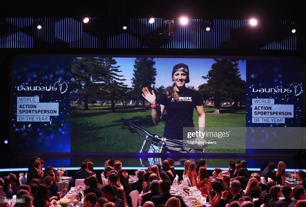 Mountain Biker Rachel Atherton of Great Britain via video link speaks after winning the Laureus World Action Sportsperson of the Year Award during the 2017 Laureus World Sports Awards at the Salle des Etoiles,Sporting Monte Carlo on February 14, 2017 in Monaco, Monaco.
