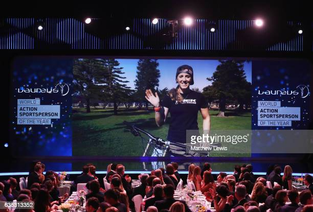 Mountain Biker Rachel Atherton of Great Britain via video link speaks after winning the Laureus World Action Sportsperson of the Year Award during...