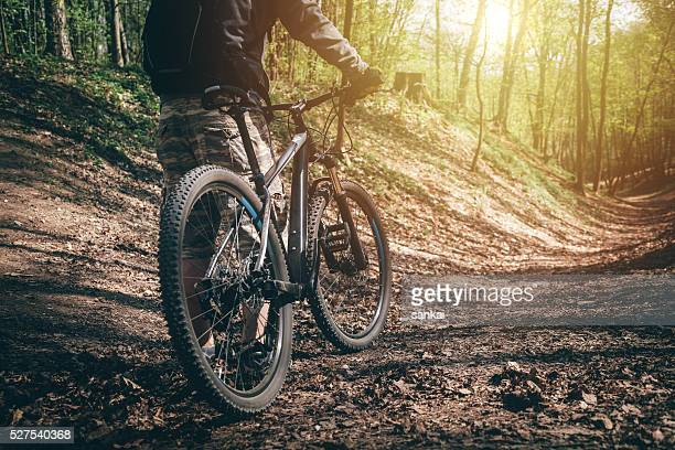 Mountain biker ready for the ride through the forest
