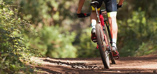 Mountain biker riding on bike singletrack trail 1134938717