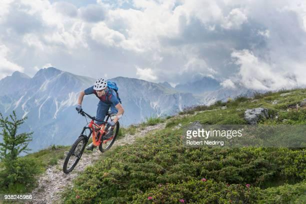 Mountain biker riding on uphill in alpine landscape, Trentino-Alto Adige, Italy