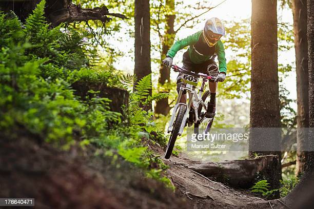 Mountain biker riding through woods