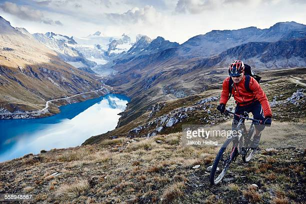 Mountain biker, Valais, Switzerland