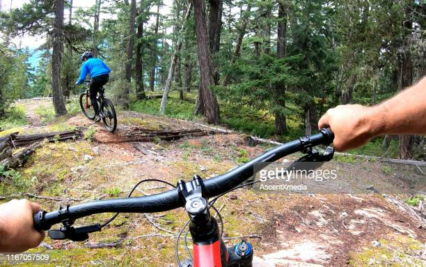 mountain bikers follow trail through forest - cross country cycling stock pictures, royalty-free photos & images