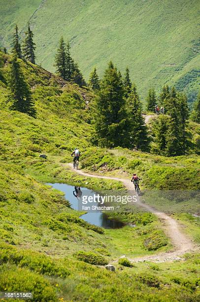 Mountain bikers in the Alps