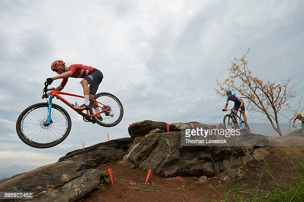 2016 Summer Olympics Denmark Simon Andreassen and Canada Leandre Bouchard in action during Men's CrossCountry Final at the Mountain Bike Centre Rio...