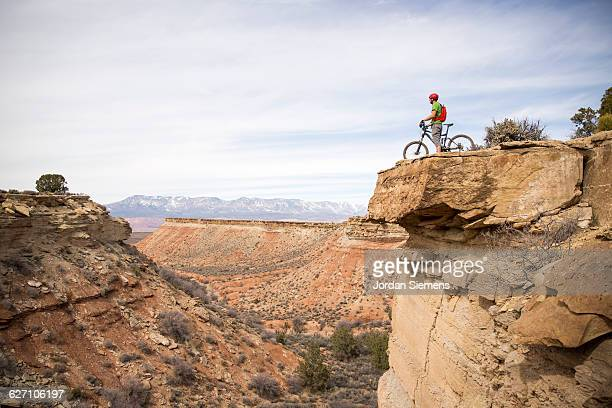 Mountain biking a senic trail.