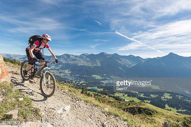 mountainbiking above lenzerheide, switzerland - cross country cycling stock pictures, royalty-free photos & images