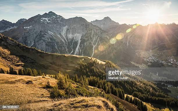 mountain biking area, kleinwalsertal, trails below walser hammerspitze, austria - vorarlberg stock photos and pictures