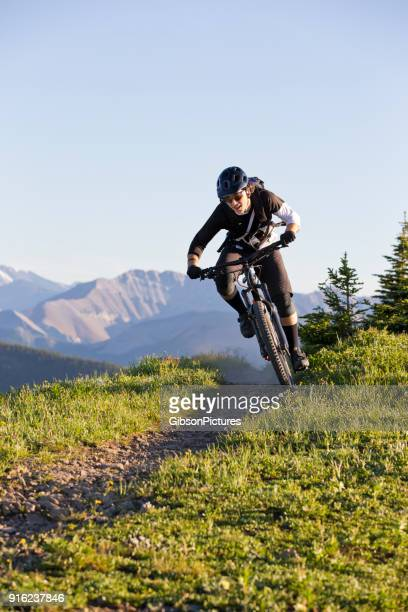 mountain biking canada - bicycle trail outdoor sports stock photos and pictures