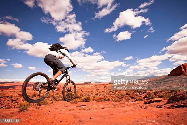 mountain biking in utah - moab utah stock photos and pictures