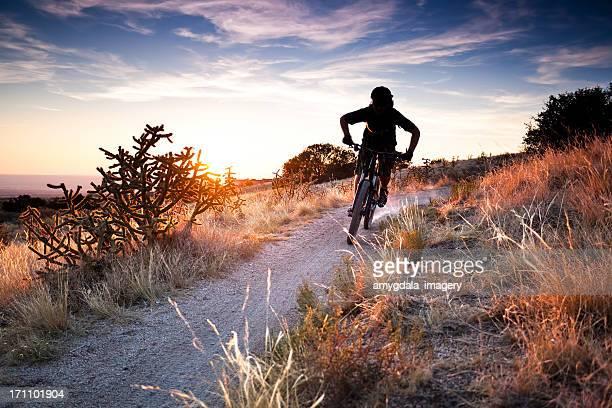 mountain biking landscape - sandia mountains stock photos and pictures