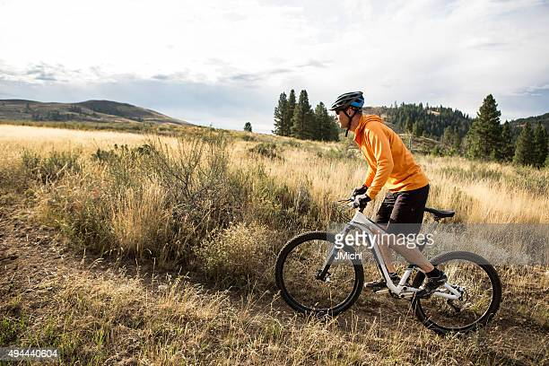 Mountain Biking Man in The Mountains of The Western U.S.