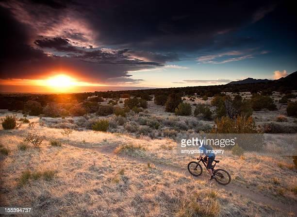 mountain biking - sandia mountains stock pictures, royalty-free photos & images