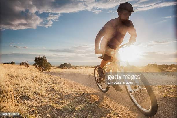 mountain biking! - sandia mountains stock photos and pictures